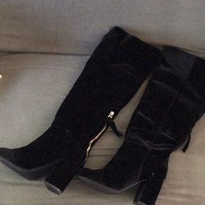 Black Velvet over the knee boot